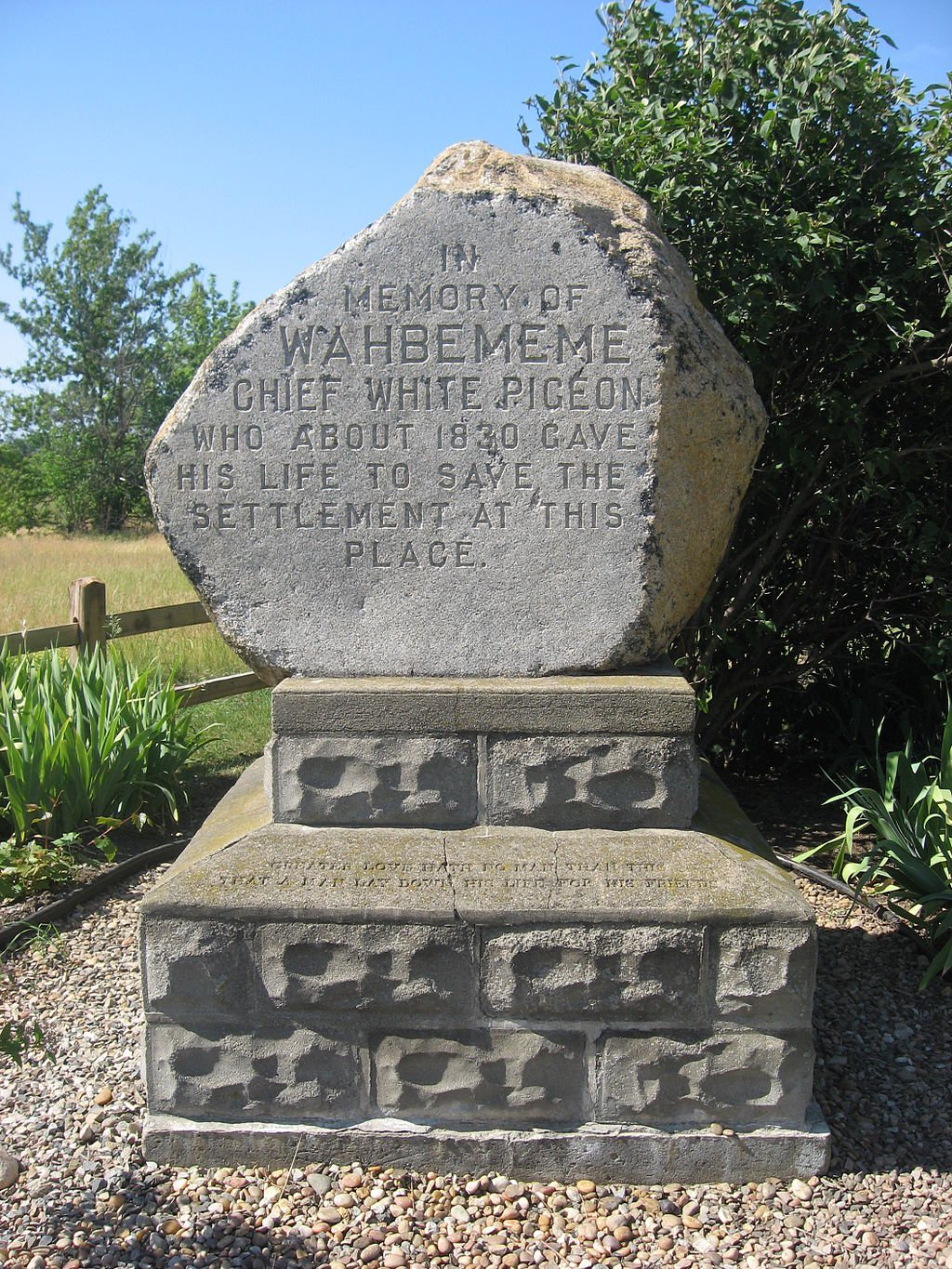 The monument commemorating the story of Wahbememe.