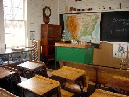 View of the front of the class similar to what it was like in the early 1900s.