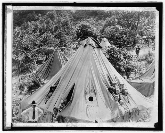 Tent full of children