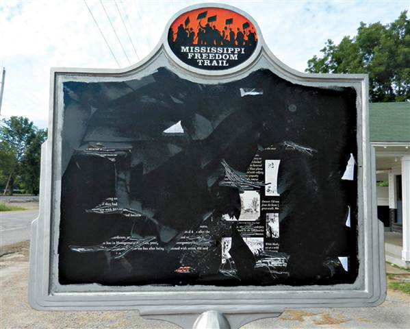 This historical marker, like several that came before it, was vandalized by those who wish to delete African American history.