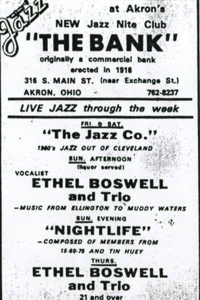 A promotional flyer for the Bank Jazz Club listing the address as 316 S. Main St.