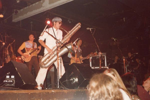 Akron experimental/New Wave band Tin Huey performing at the Bank in the early 1980s.