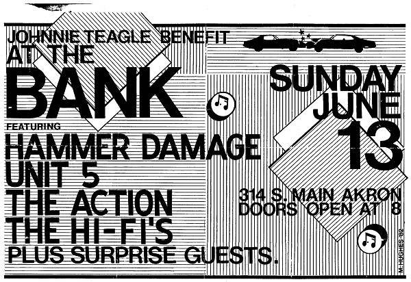 In 1982, the Bank held a benefit show for Johnny Teagle of Akron's Walking Clampetts who had been injured in a car accident. Flyers in the early 1980s began listing the Bank's address as 314 S. Main St.