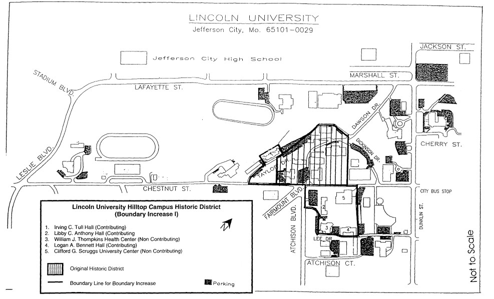 NRHP Historic District Updated Map of Lincoln U. Hilltop Campus (Greene & Holland 1982)
