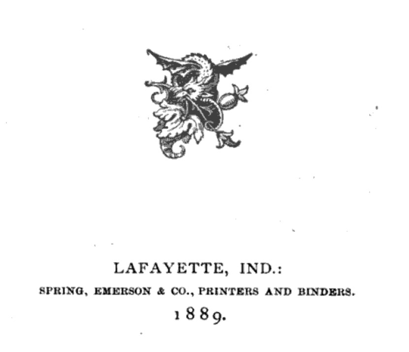 Detail from title page of 1889 book printed by Spring, Emerson & Co. (Finding Lists of the Lafayette Public Library)