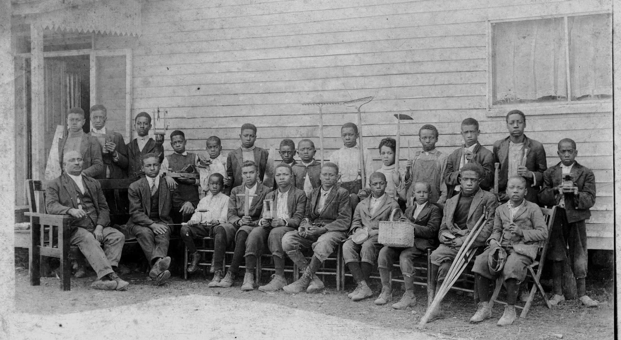 James K. Hughes with a class of boys at the Franklin Training School