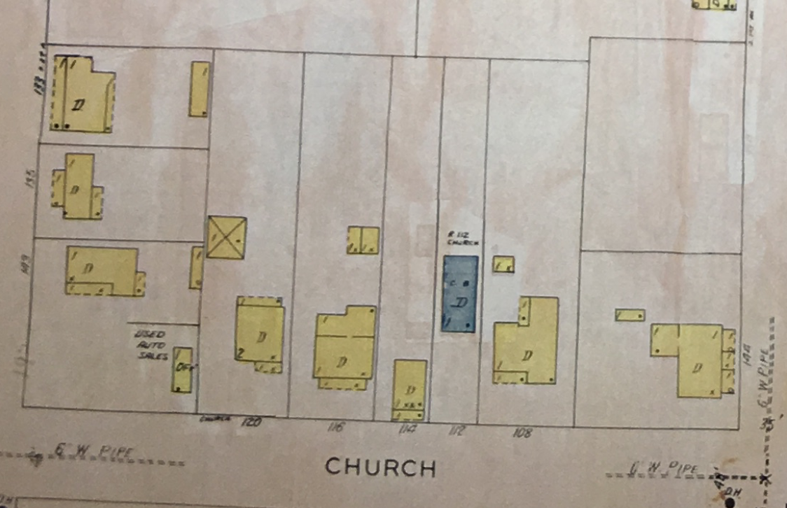 This September 1928 Map of Franklin shows Freeman Thomas' house and lot (numbered as 108 Church Street) in the Bucket of Blood neighborhood - the site of today's Brownstones.