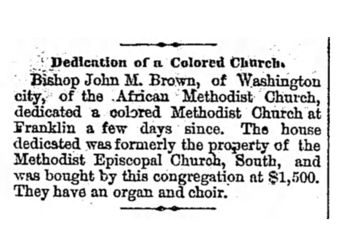 Newspaper clipping announcing the dedication of the Shorter Chapel sanctuary in 1873