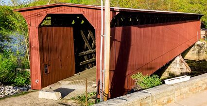 Newly repainted Contoocook Covered Railroad Bridge.