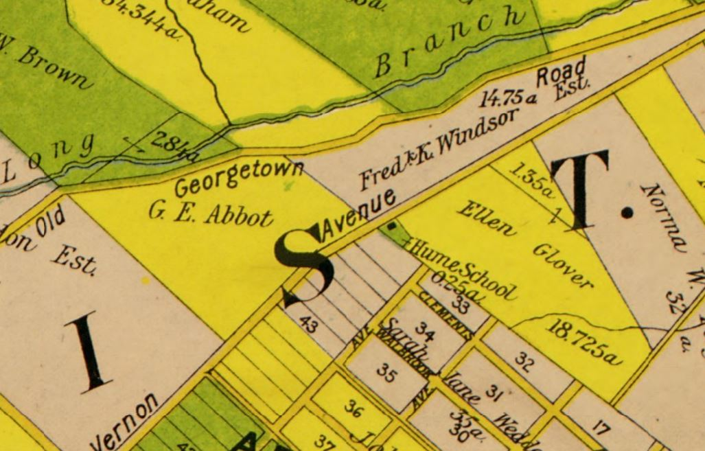 Hume School on 1/4-acre lot (green) on 1900 map (Virginia Title Company)