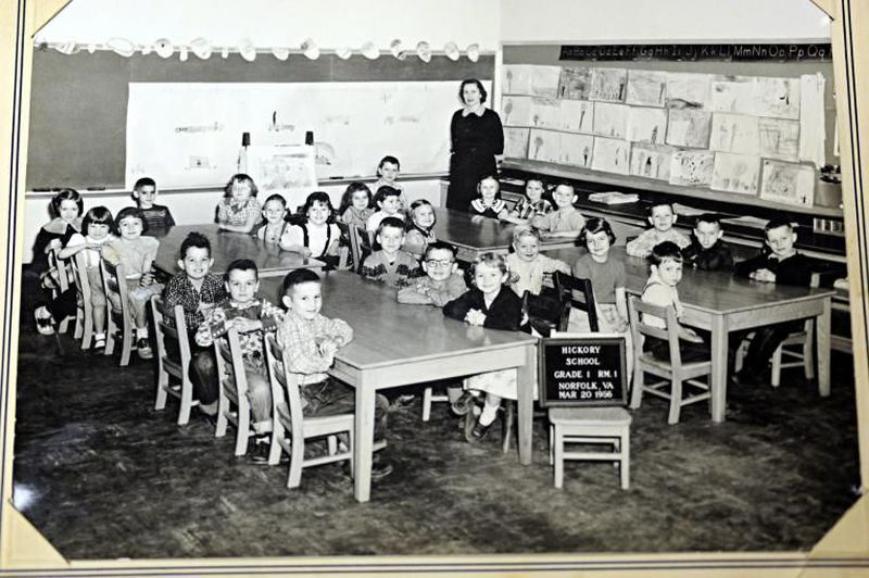 A 1956 Hickory Elementary First grade class portrait.