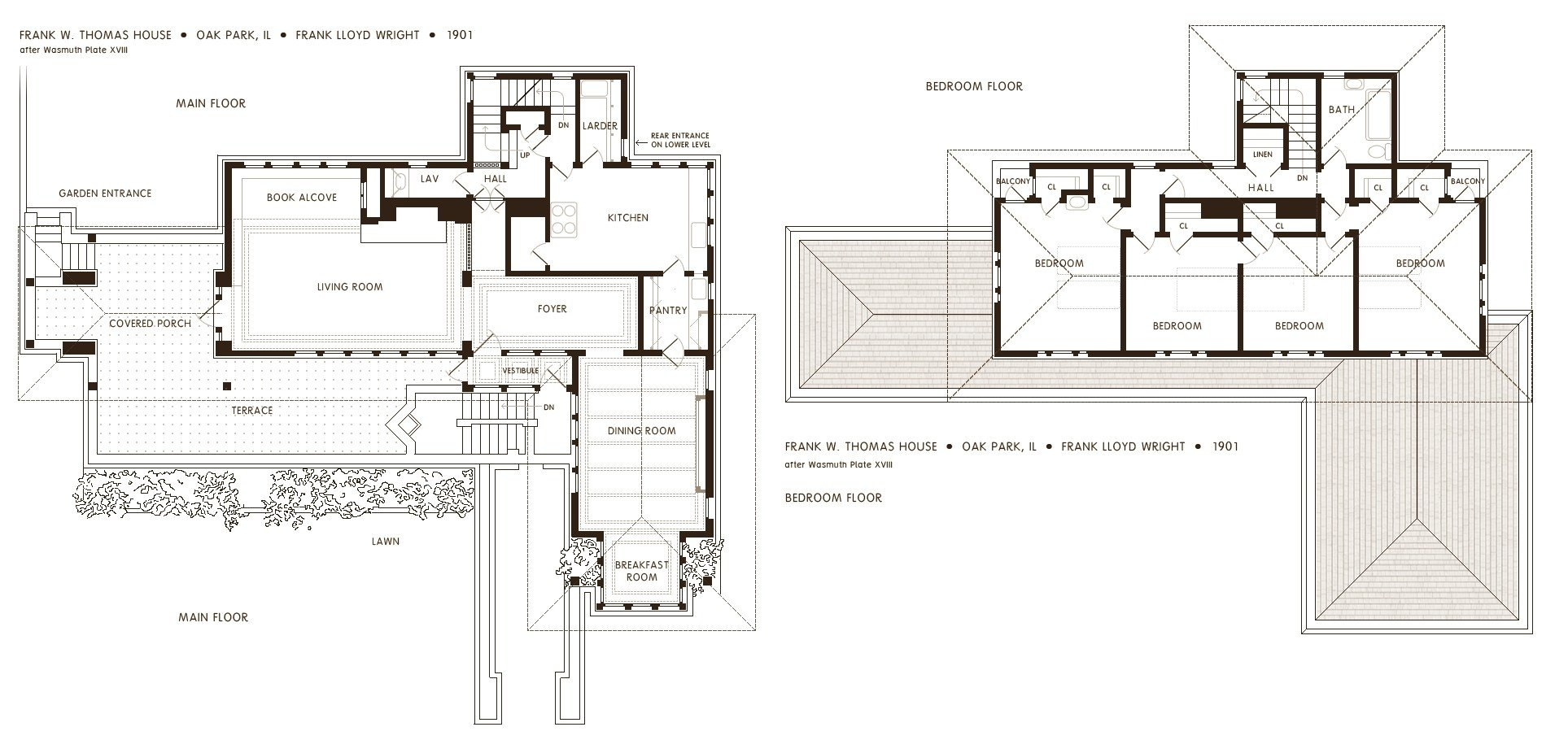 Floor plans of the Frank Thomas House