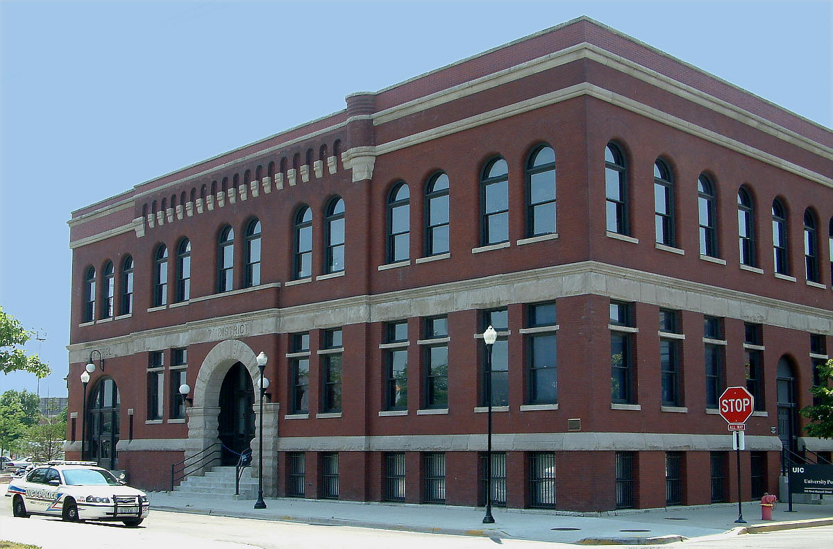 The 7th District Police Station (picture taken in 2005)  — University of Illinois at Chicago campus, West Side district of Chicago, Illinois.
