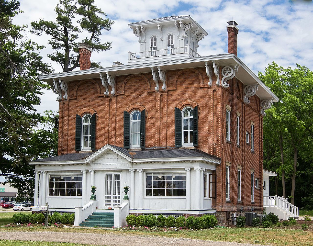 The Abram C. Fisk House was built in 1863 and is today the location of Blue Hat Coffee.