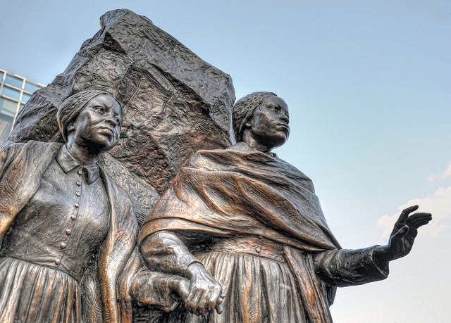 This bronze statue of Emily and Mary Edmonson-two slaves who were held at this slave jail was dedicated in 2010.