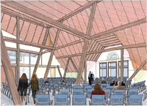 An artist's rendering of what the new attic event space will look like