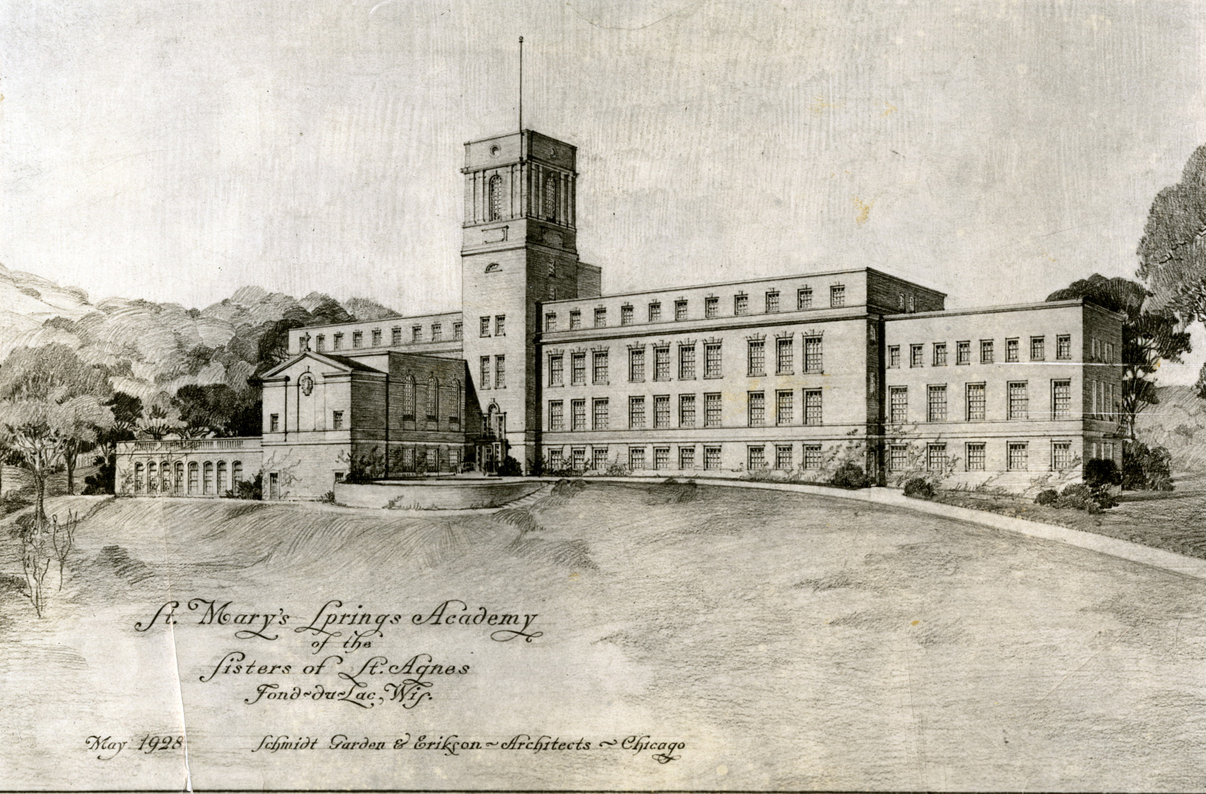 Architect's rendering of St. Mary's Springs Academy, May 1928.