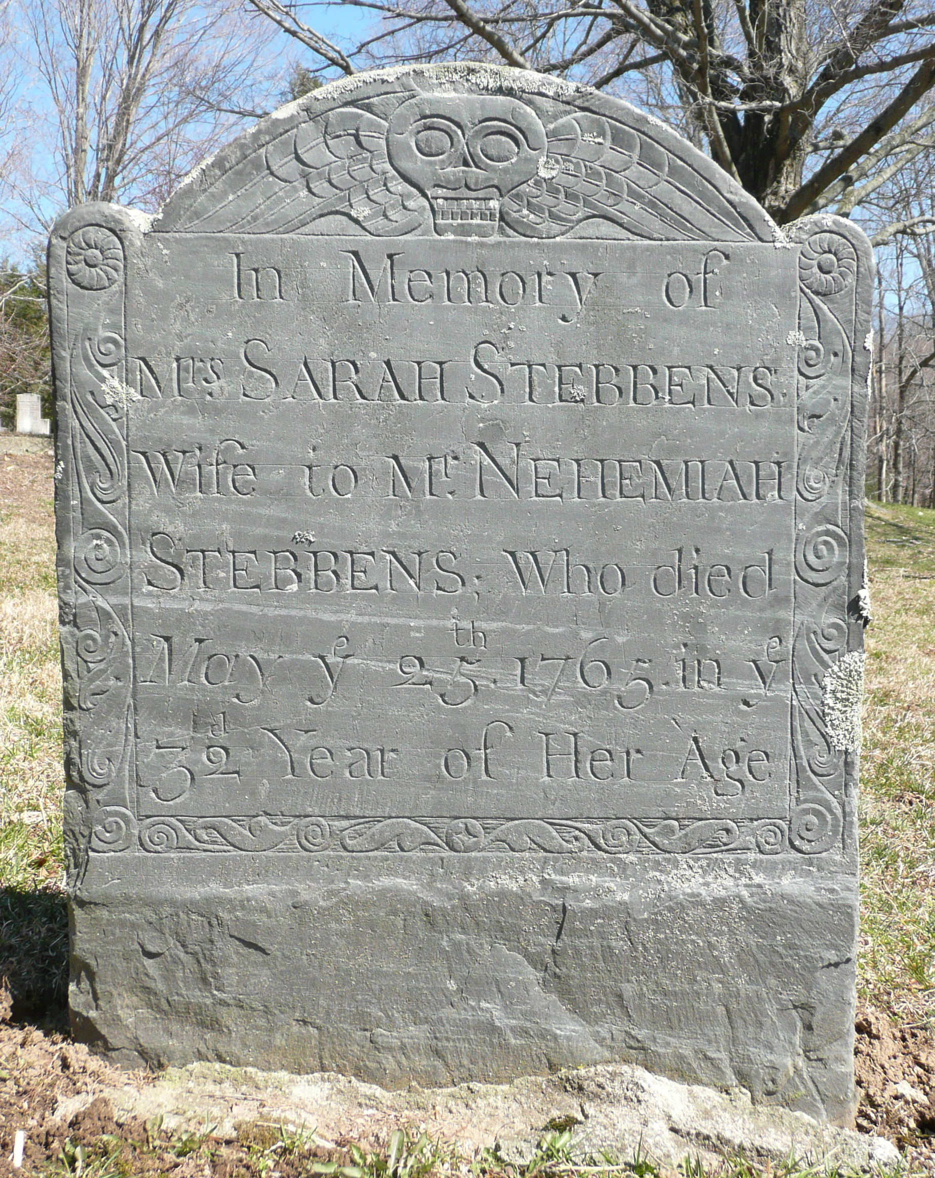 Tombstone of Sarah Stebbens.