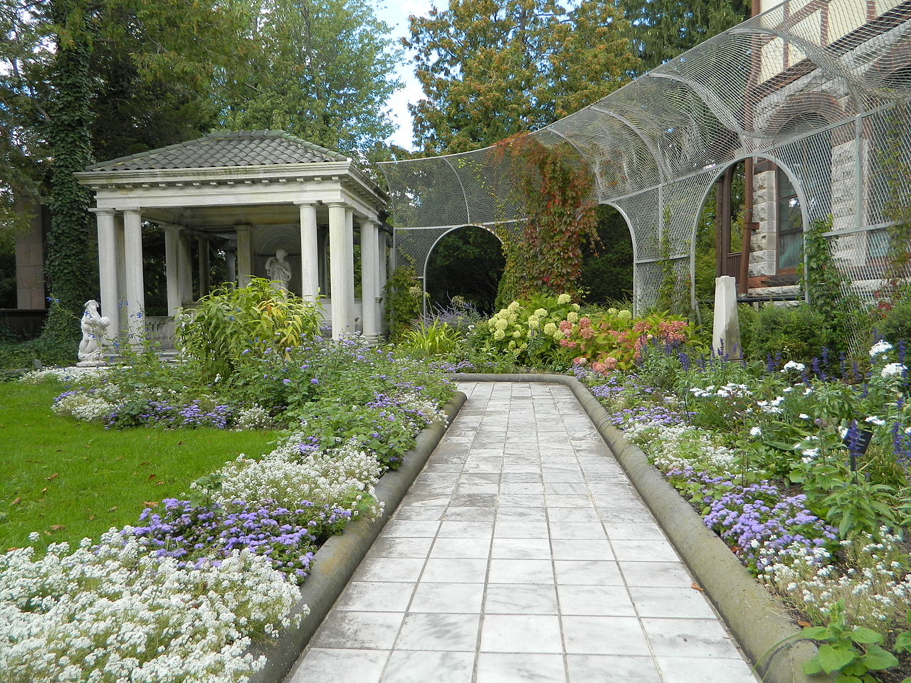 The estate features several gardens.