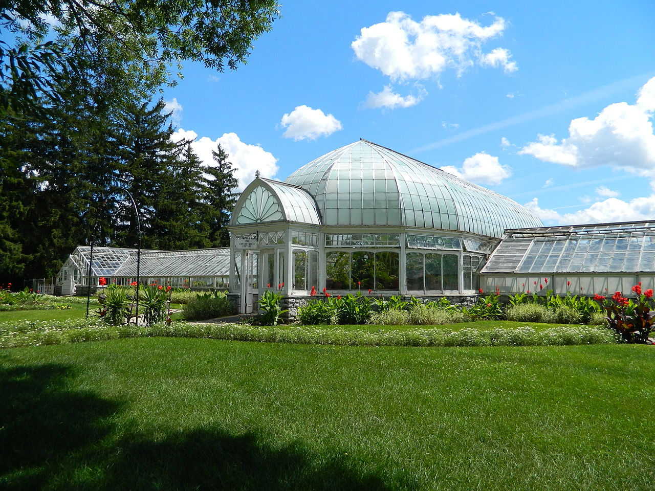 Inside the conservatory, visitors will find tropical plants and flowers.