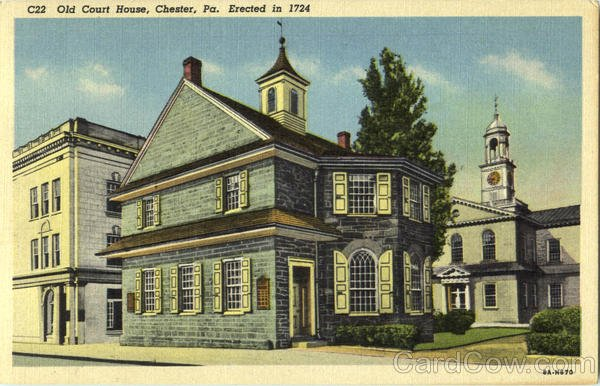 A vintage postcard of the Old Chester Courthouse.