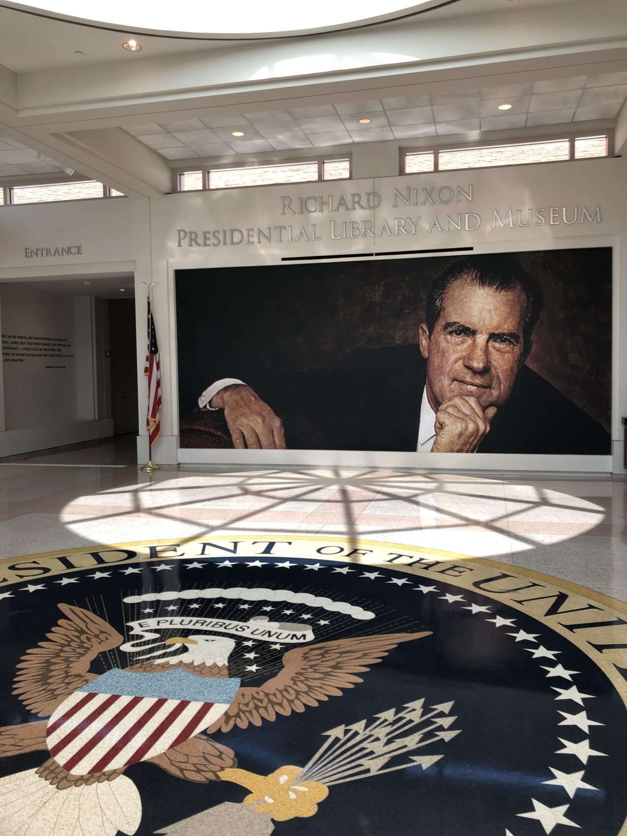 The Lobby of the Nixon Library, Featuring Norman Rockwell's Portrait of Nixon