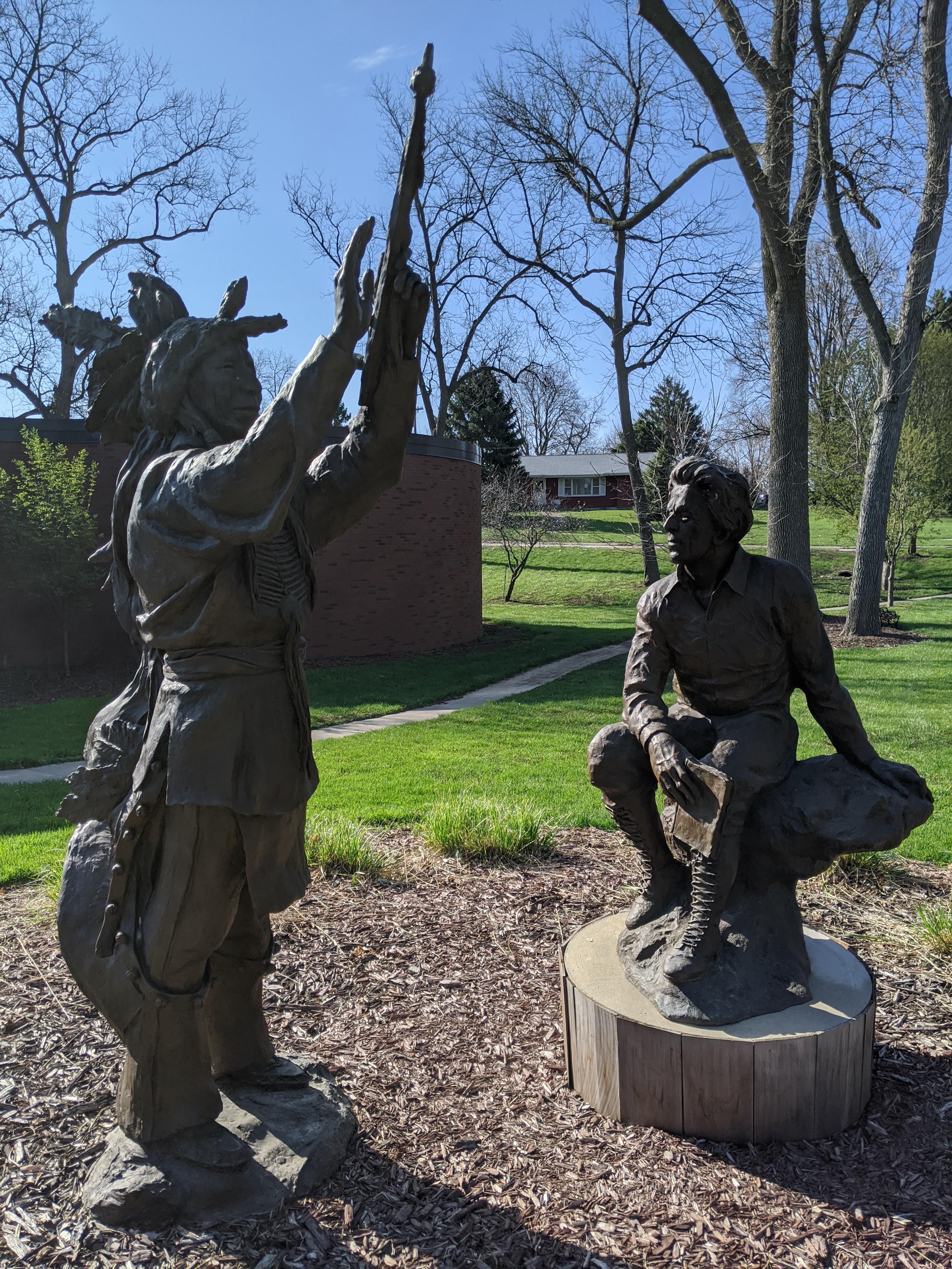 Statues of Neihardt and Black Elk