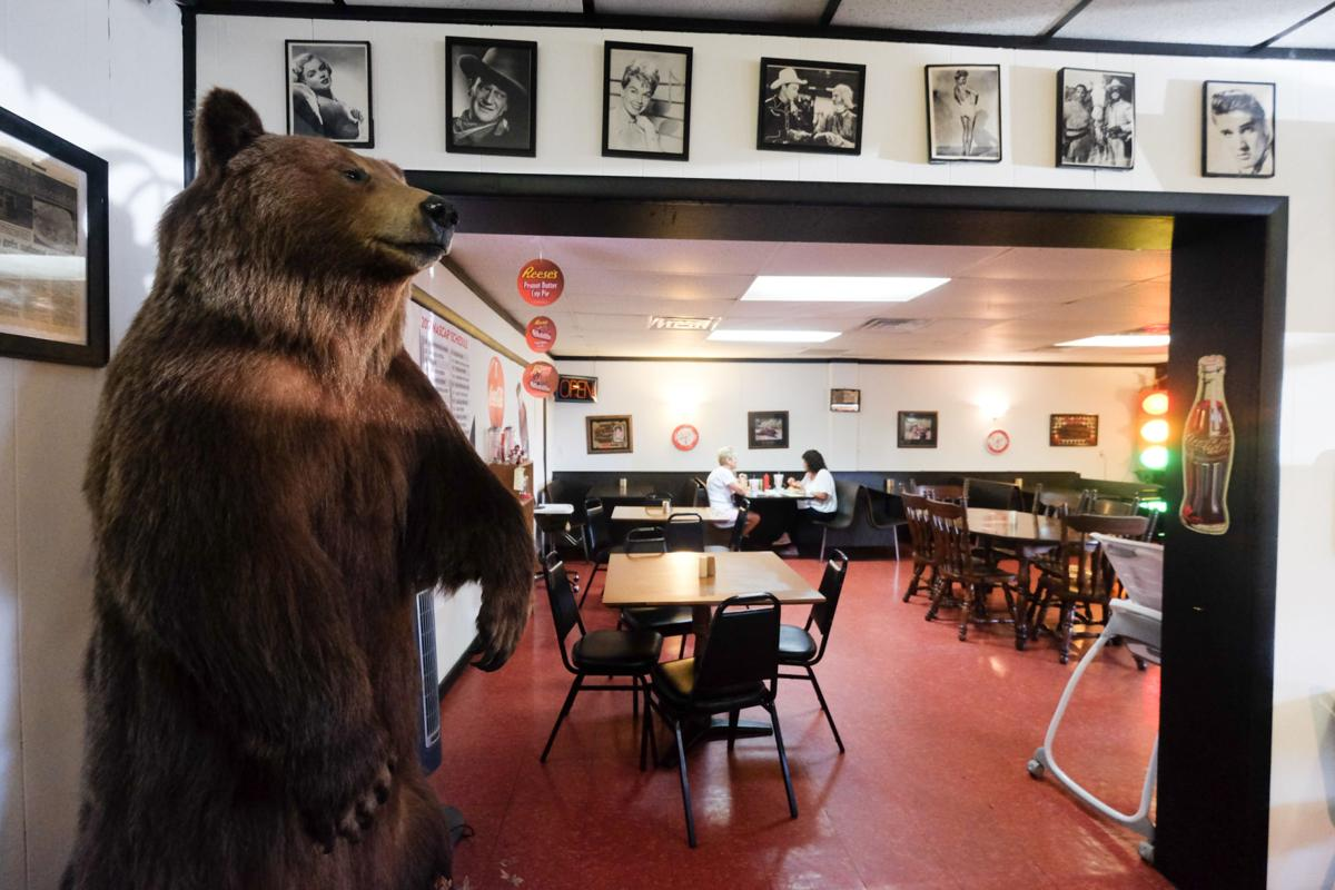 The dining room, complete with a stuffed bear