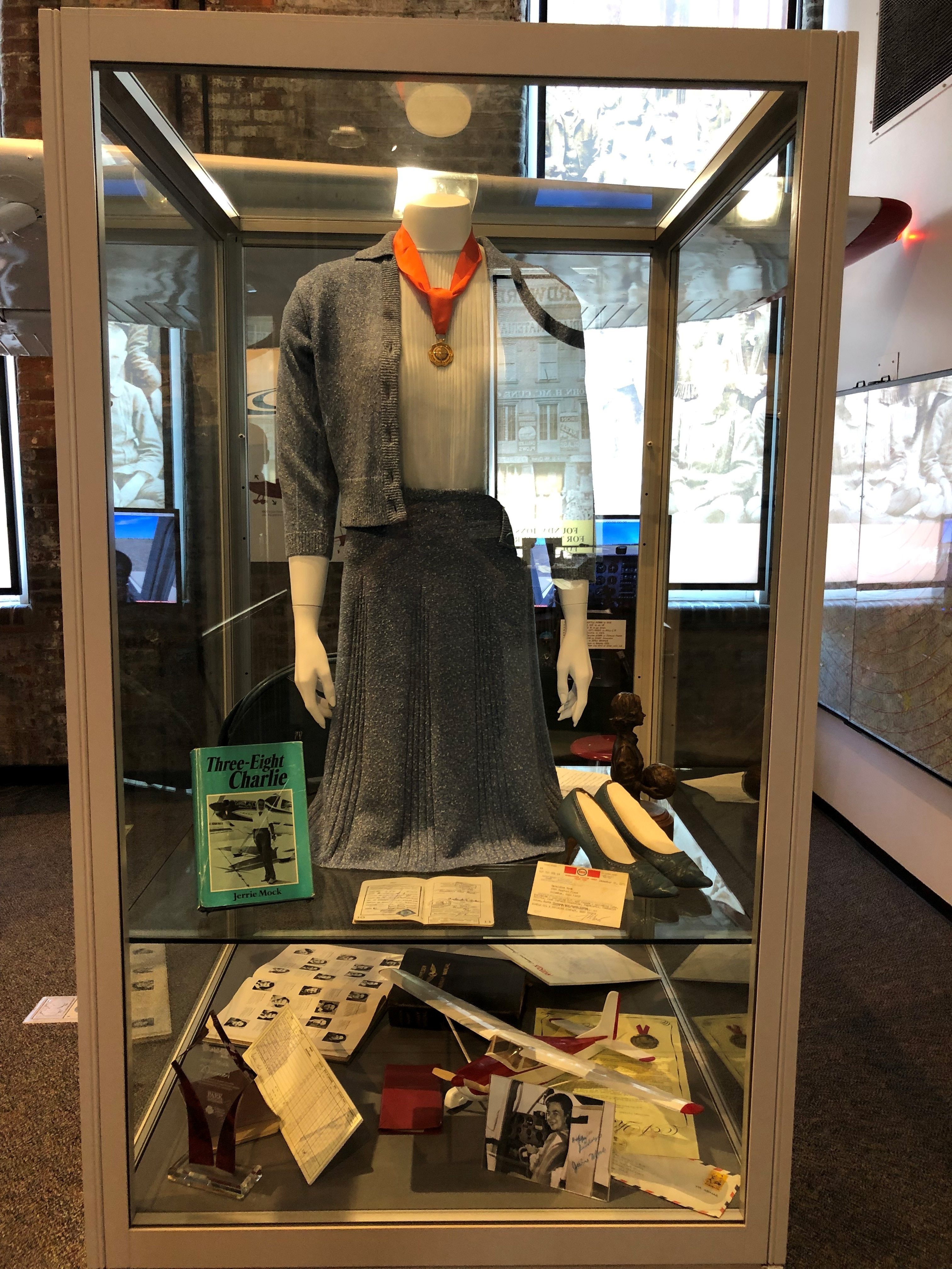 Jerrie battled against many expectations that were put upon her due to being a woman. Notably, she made her flight in a skirt, blouse, and high heels in order to appear respectable throughout her flight. Her original outfit, along with many medals, letters, books, and other memorabilia are on display.