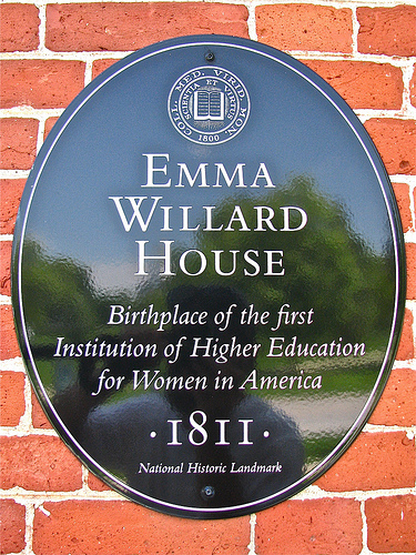 This plaque describes why the Emma Willard House was designated a National Historic Landmark.