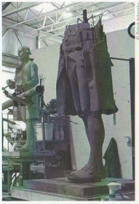 An early construction of the full sized statue.