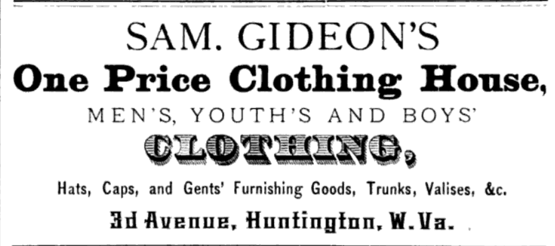 Ad for Sam Gideon's clothing business from 1879