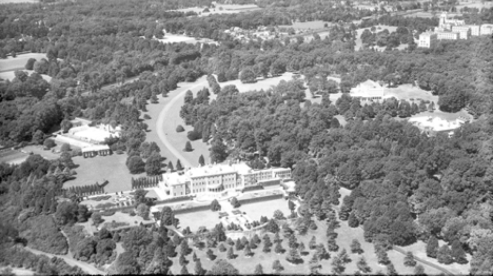 Aerial view of the Florham Estate in the early 20th century