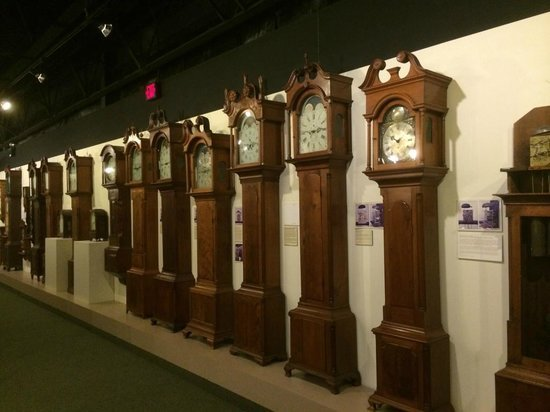 A few of the tall case, or grandfather clocks within the museum.