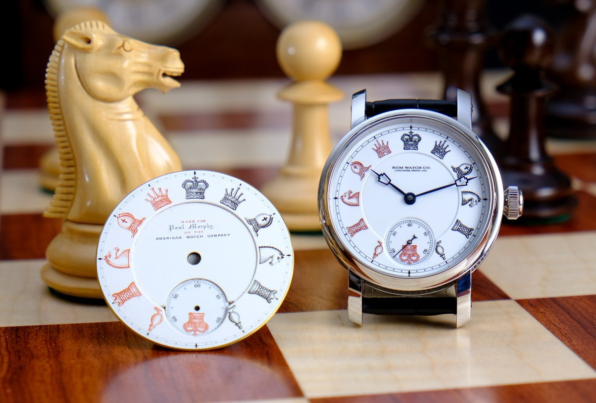 A close-up of a chess themed watch.