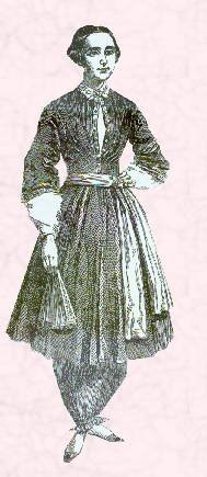 This image shows a woman wearing a pantaloon garment called a bloomer.