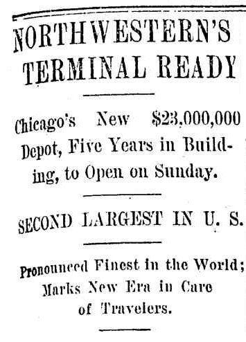 1911 Newspaper Clip: Chicago's CNW Railway terminal and powerhouse was ready in 1911. (From Chicagoology.com)