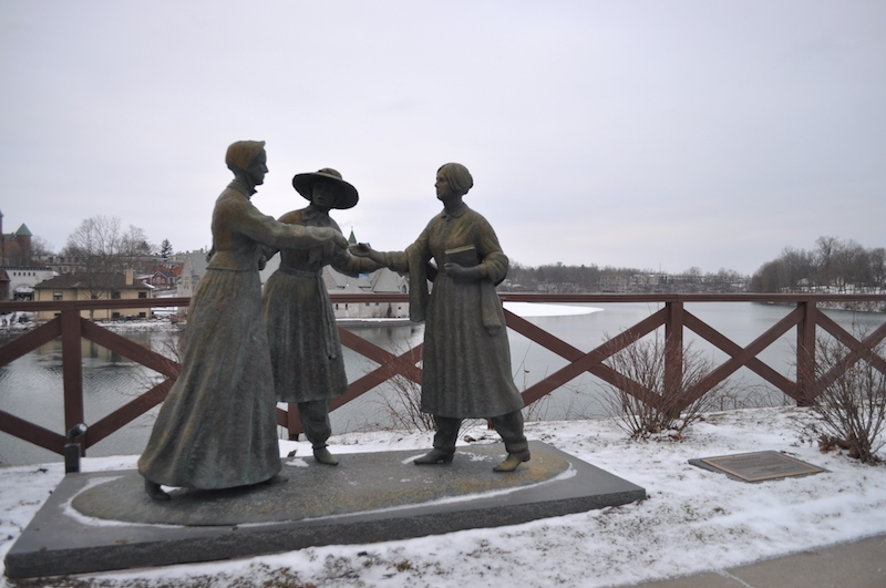 The statue depicts the 1851 meeting between Susan B. Anthony and Elizabeth Cady Stanton. It was erected in 1998.