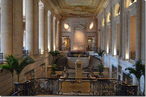 The hotel is renowned for its ornate lobby and ballroom.