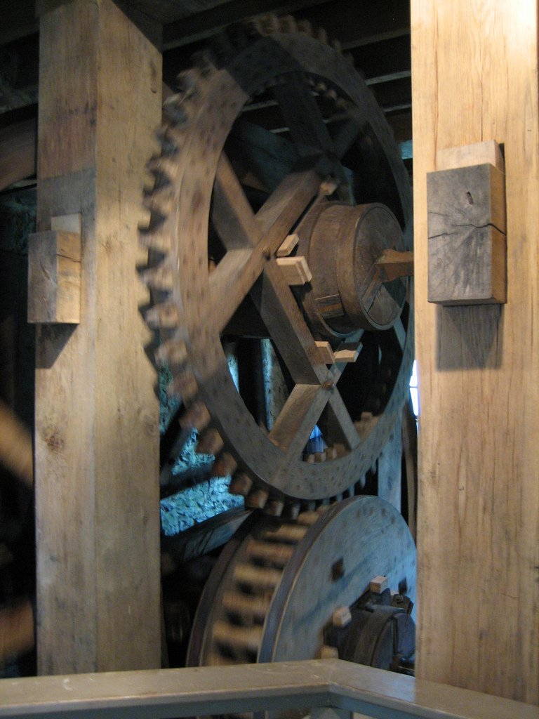 The massive wooden gears that were turned by the waterwheel to power the pumps.