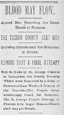 Headline from the August 9, 1893 issue of the Wheeling Intelligencer.