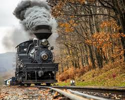 A beautiful picture of the train weaving through West Virginia hills in the fall.