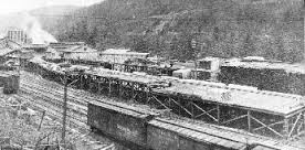 An old picture of the train station sometime between 1908 and 1922.