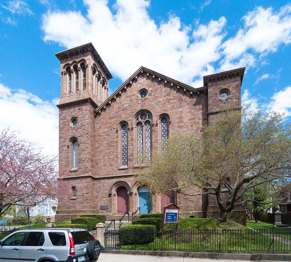 The 1857 United Congregational Church with its roofless towers.