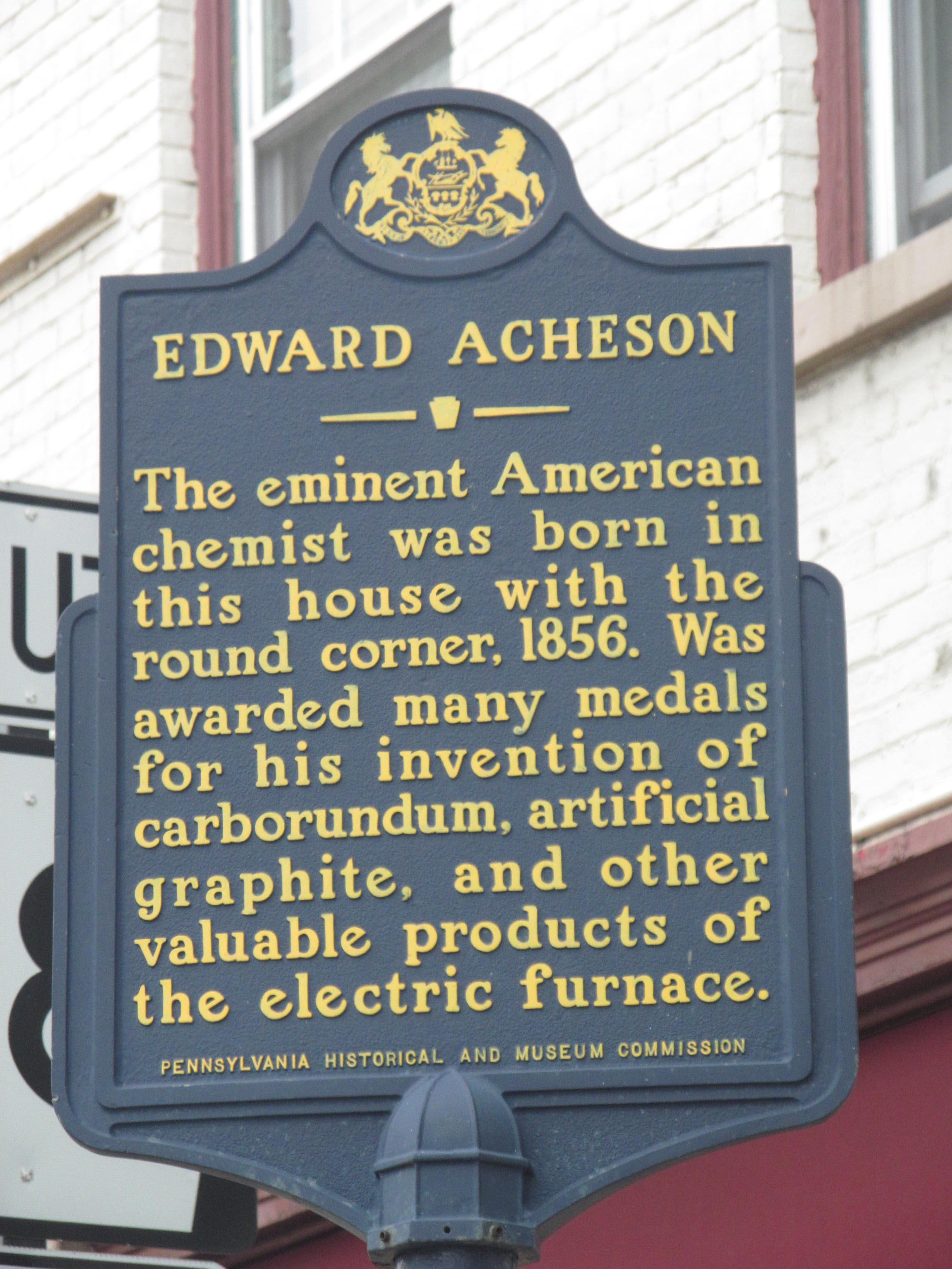 The historic marker that sits near his birthplace in Washington, Pennsylvania.
