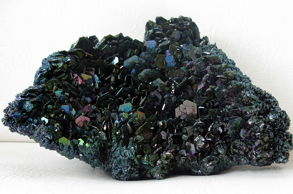 A close-up of carborundum crystals, used in industrial abrasives, semi-conductors and ceramics.