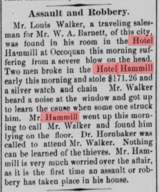 1905 newspaper article re: robbery and assault on hotel guest at Hammill Hotel