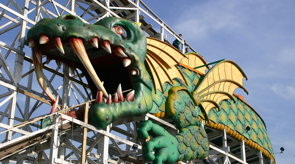 Dragon Coaster Ride at Playland Park (est. 1929). Inspired by Park's Mascot and Logo.