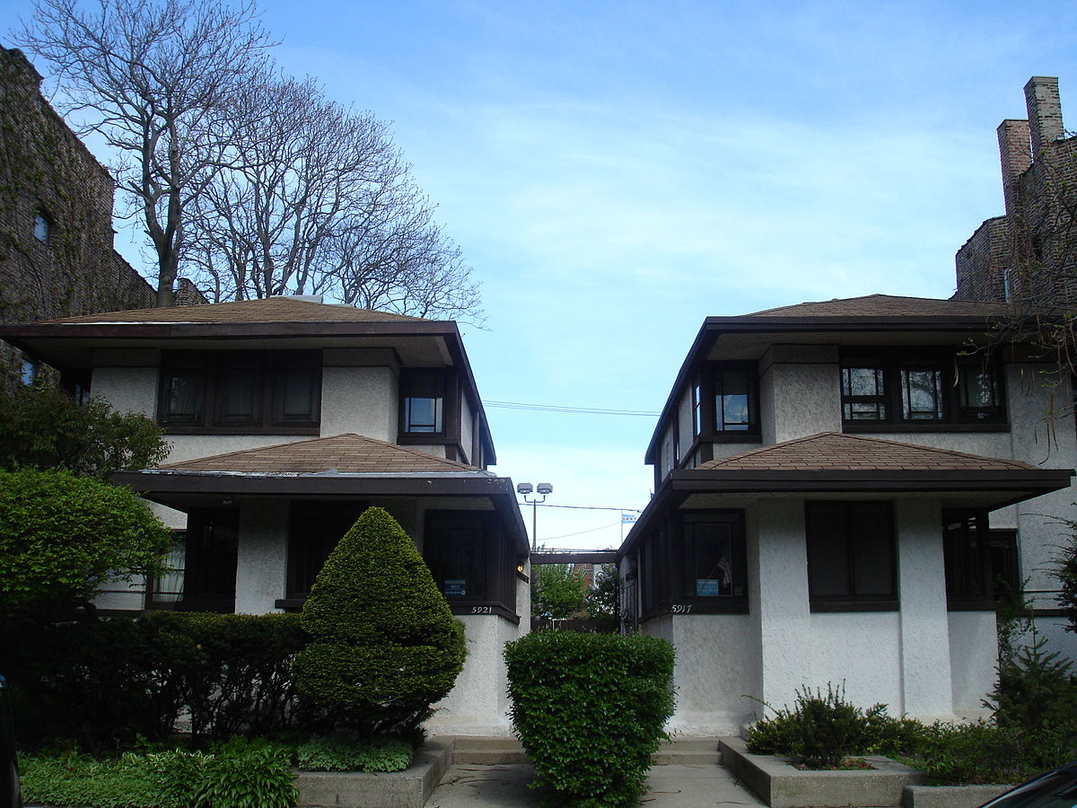 Gauler Twin Houses (1908), designed by renowned Prairie School architect Walter Burley Griffin - Photo taken on May 17, 2011