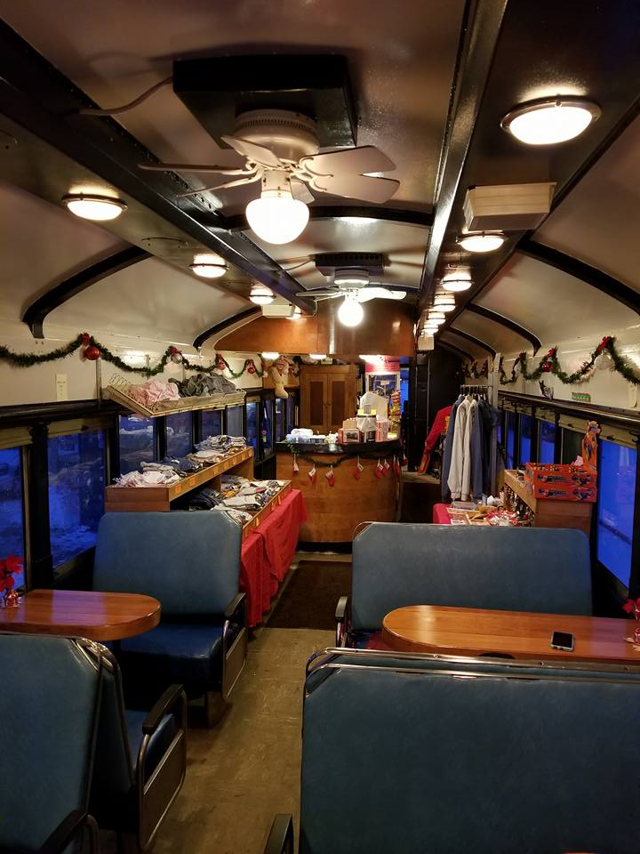 View inside the cafe car